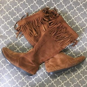 Tall Fringe Moccasin Boots (Zip up)